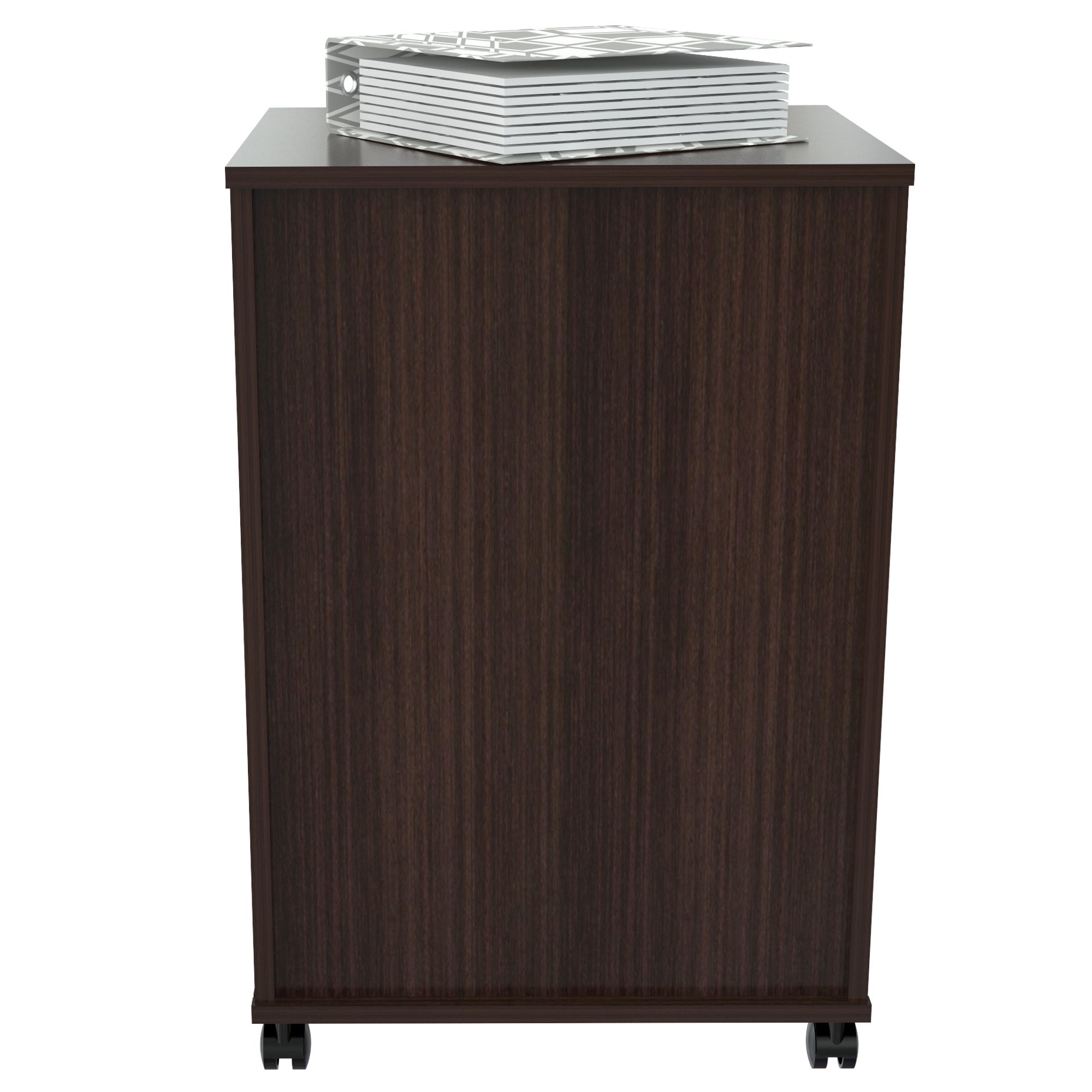 """28"""" Espresso Melamine and Engineered Wood File Cabinet with Two Drawers"""