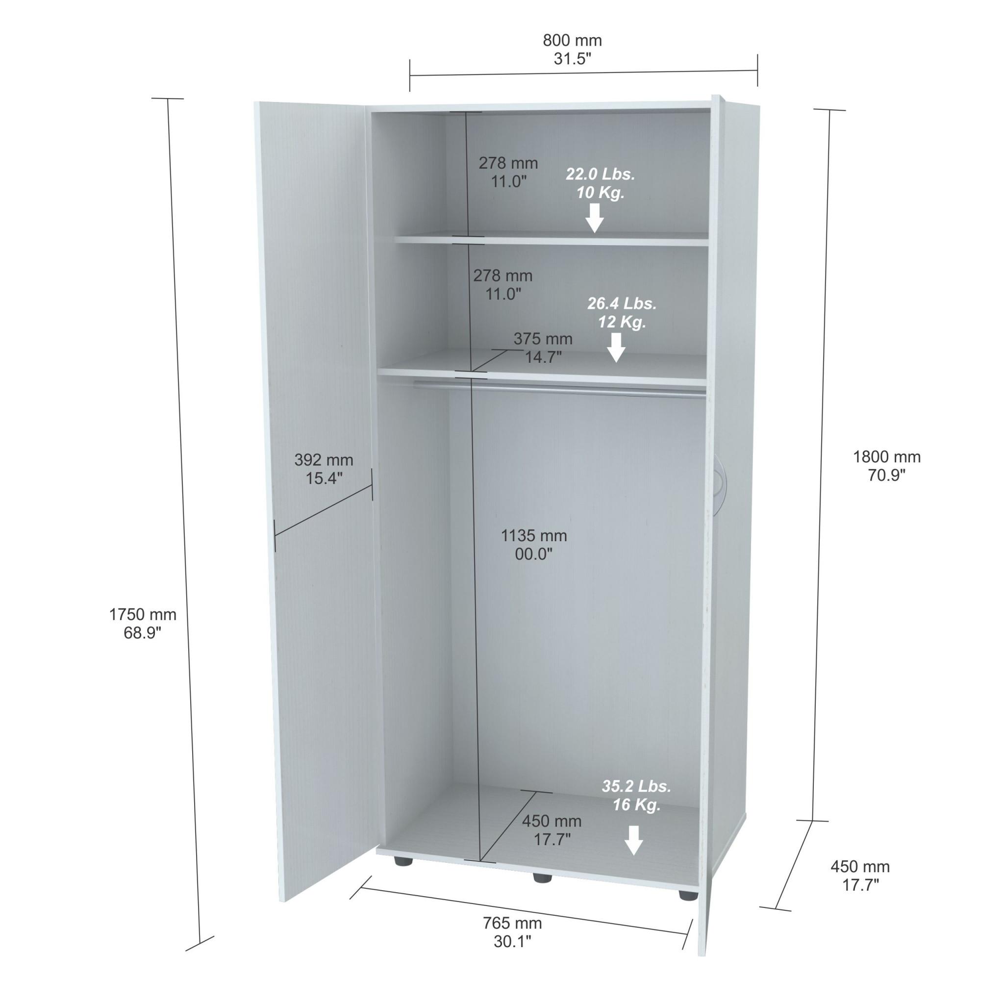 "70.9"" White Melamine and Engineered Wood Wardrobe with 2 Doors"