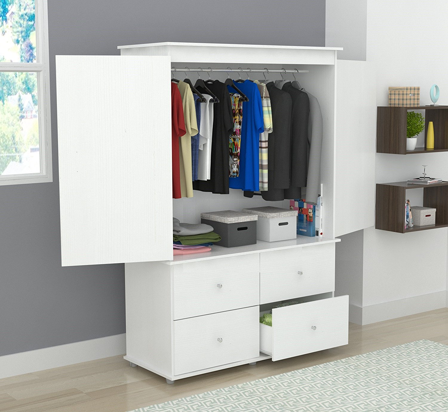 """70.9"""" White Solid Composite Wood Dresser with 2 Doors and 4 Drawers"""