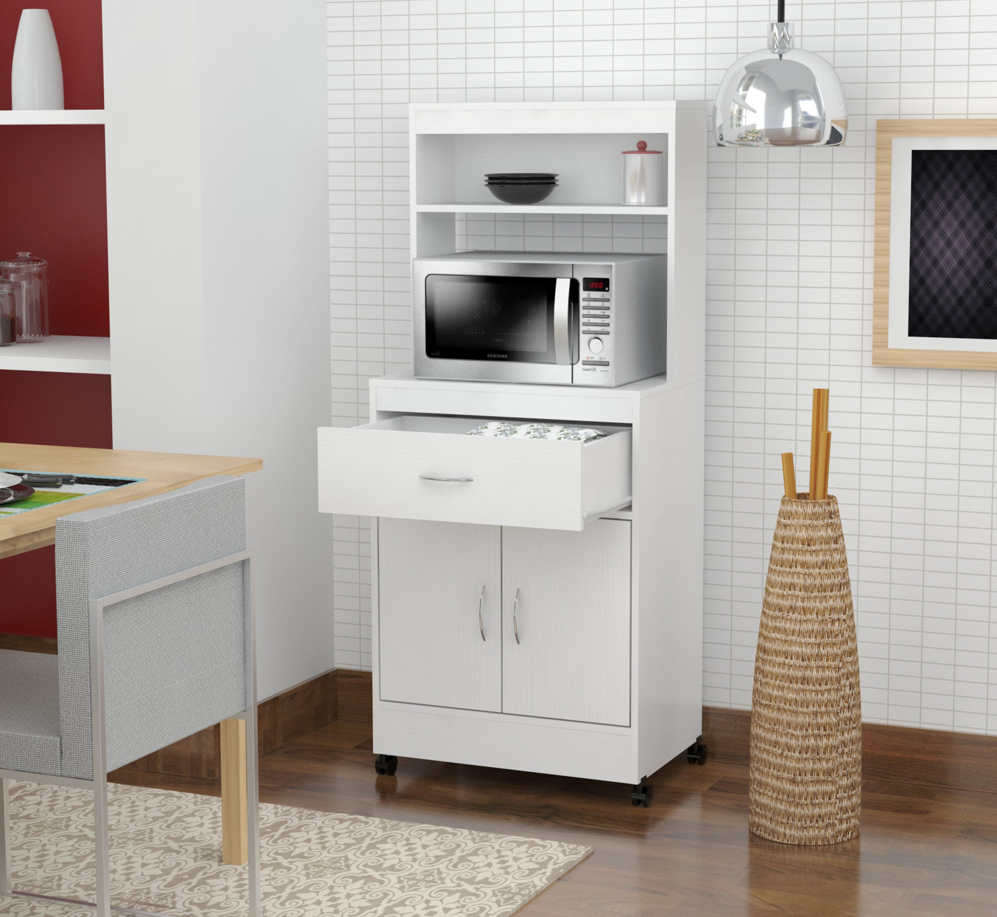 "56.3"" White Melamine and Engineered Wood Microwave Cabinet"