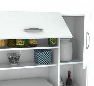 "66.1"" Contemporary White Melamine and Engineered Wood Kitchen Storage Cabinet"