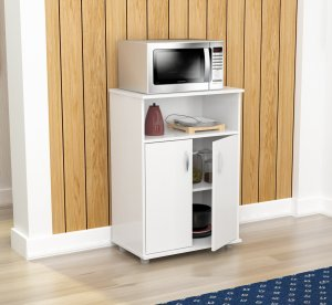 """34.7"""" White Melamine and Engineered Wood Microwave Cabinet"""