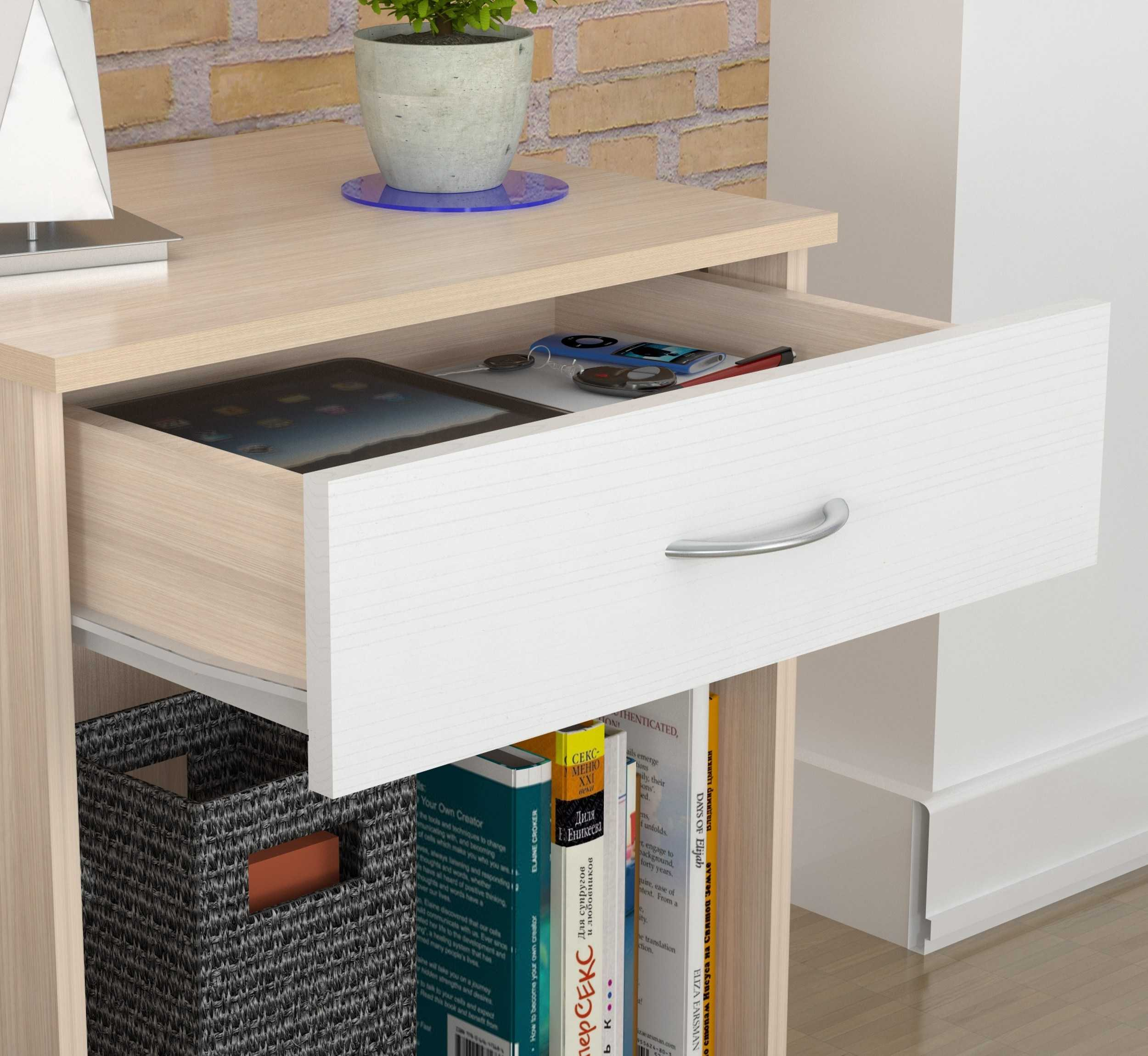 "23.4"" Lacrina-White Solid Composite Wood Nightstand"