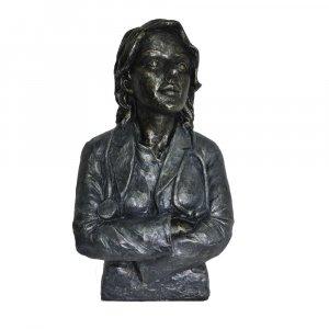 Doctor Female Statue Sculpture in Patina Black Finish