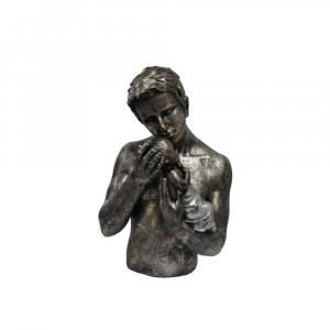 Man Holding Child Statue Sculpture in Patina Black Finish