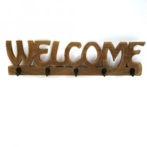 Modish Welcome Wall Hook in Mango Wood, Brown