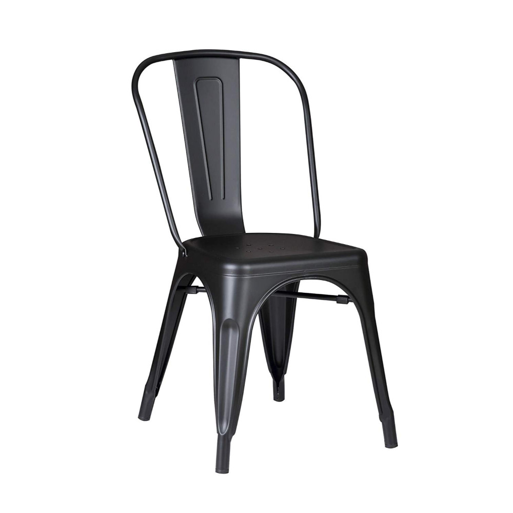 "18"" Matte Black Metal Dining Chair With Back in a Set of 2"