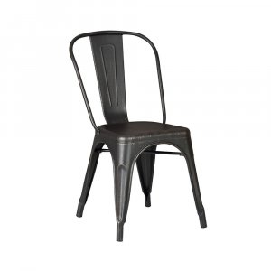 "18"" Black Distressed Metal Dining Chair With Back in a Set of 2"