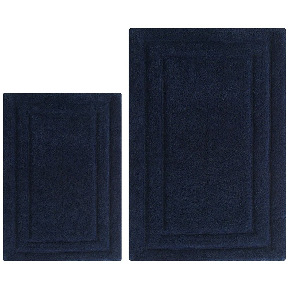 Classic 2 Pc Bath Rug Set - Navy Blue