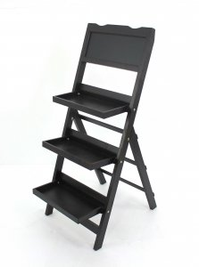 "18"" x 26"" x 42"" Black, Traditional, Portable, 3 Tier - Wooden Shelf"