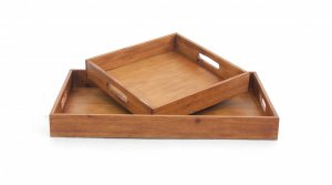 """14.5"""" x 22.5"""" x 2.5"""" Brown, Country Cottage, Wooden - Serving Tray 2pc"""