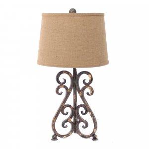 "13"" x 11"" x 23.75"" Bronze, Vintage Metal, Khaki Linen Shade - Table Lamp"