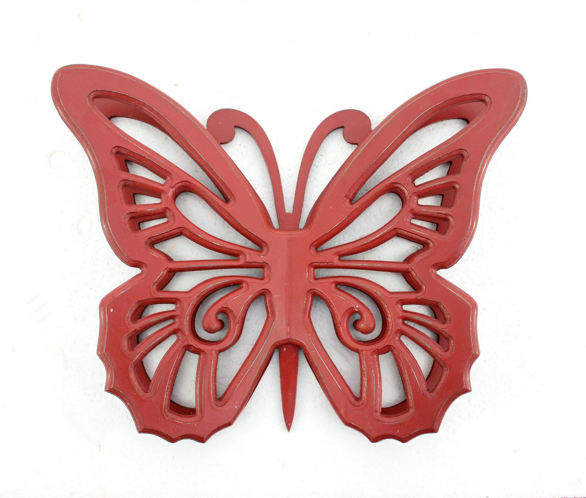 """4.25"""" x 18.5"""" x 23.25"""" Red Rustic Butterfly Wooden Wall Decor"""