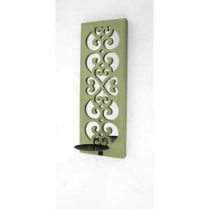 "17"" x 5"" x 6"" Green, Wood, Mirror - Candle Holder Sconce"