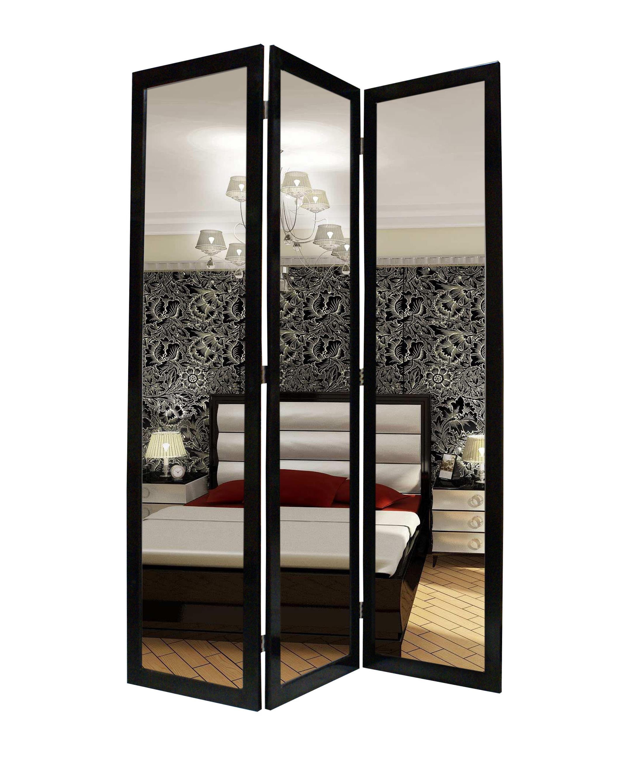 """50"""" x 69"""" Black Glass & Wood Mirror Screen"""
