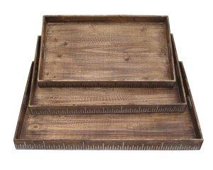 "19"" x 12"" Brown, Wood - Tray Set"