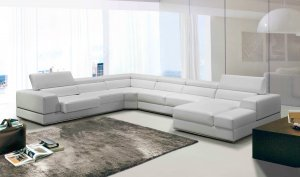 "36"" White Bonded Leather, Foam, and Steel Sectional Sofa"