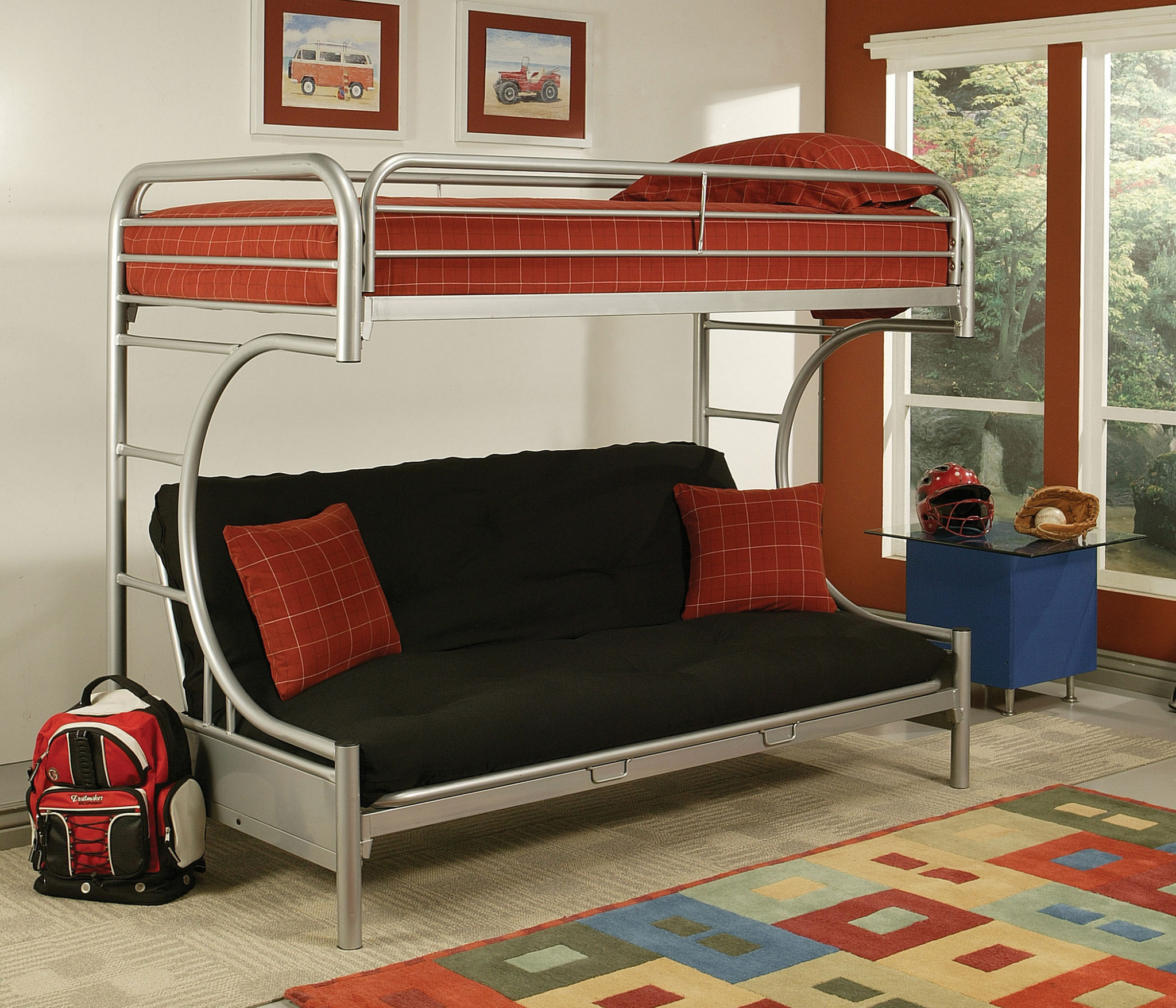 "78"" X 41"" X 65"" Twin Over Full Silver Metal Tube Bunk Bed"