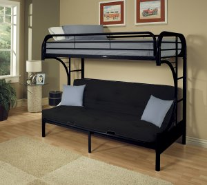 "84"" X 62"" X 65"" Twin Xl Over Queen Black Metal Tube Futon Bunk Bed"