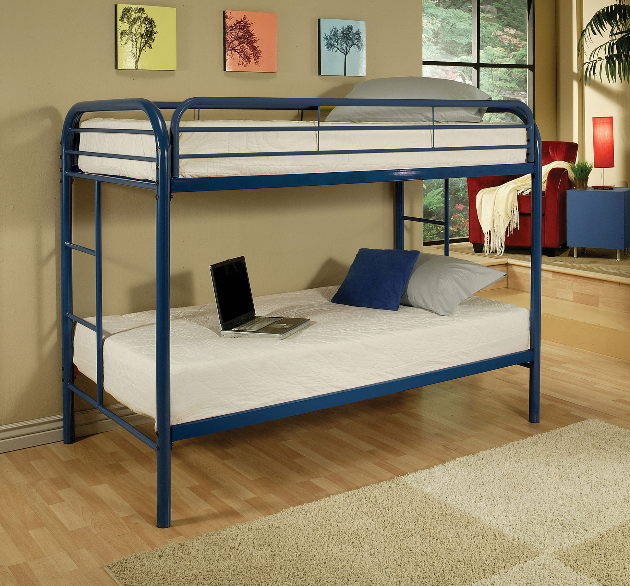"78"" X 41"" X 60"" Twin Over Twin Blue Metal Tube Bunk Bed"