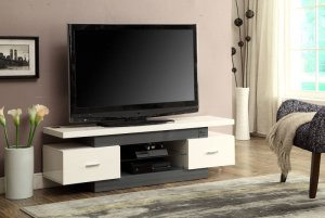 "59"" X 16"" X 19"" White And Gray Mdf Tv Stand"