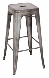 "17"" X 17"" X 30"" 2pc Antique Silver Steel Bar Stool"