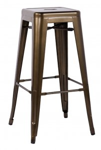 "17"" X 17"" X 30"" 2pc Bronze Steel Bar Stool"