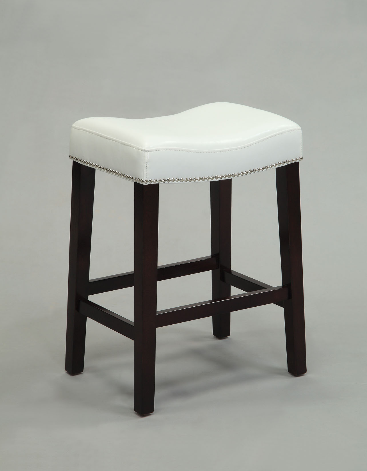 """19"""" X 14"""" X 26"""" 2pc White And Espresso Swivel Counter Height Stool"""
