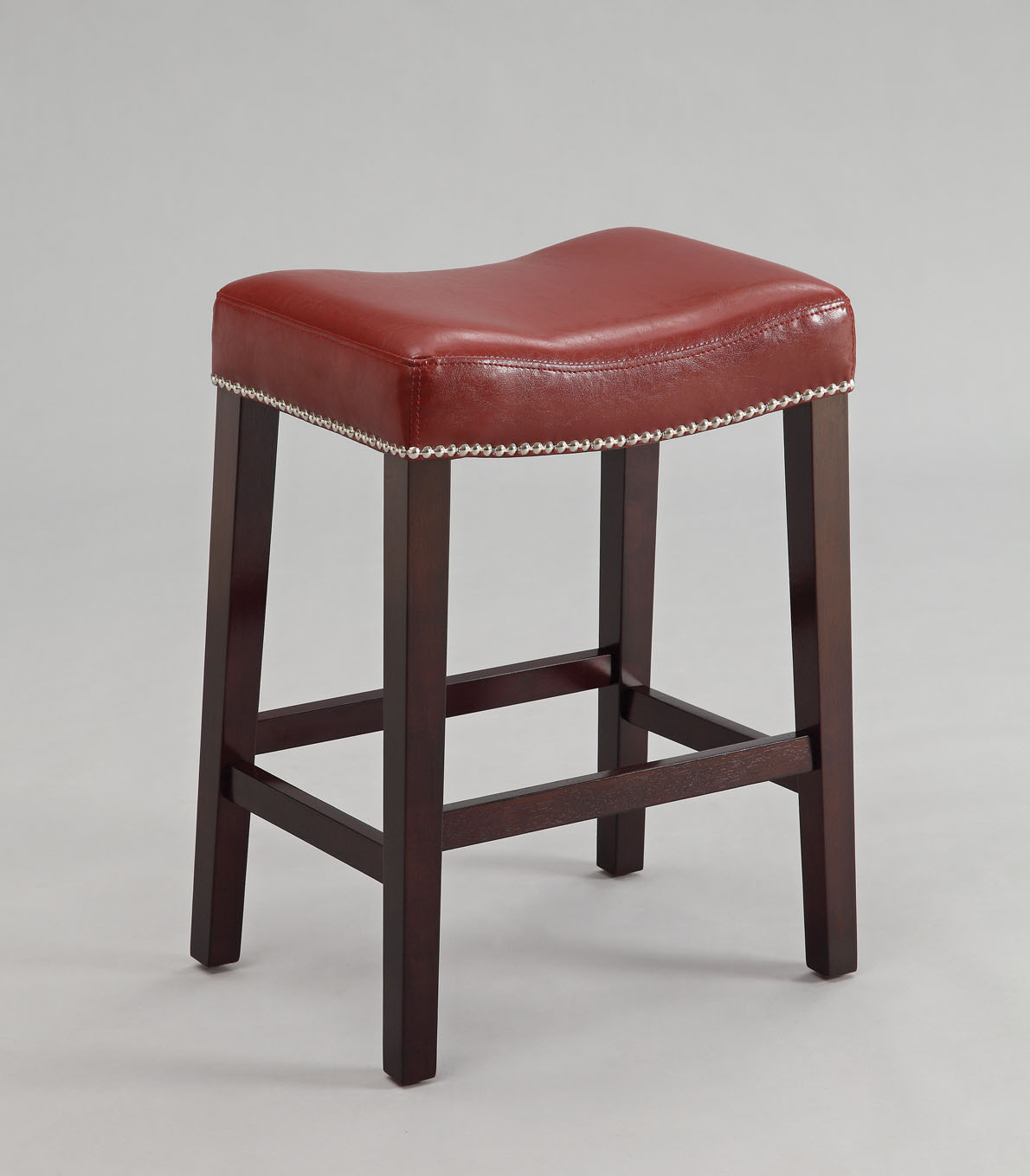 """19"""" X 14"""" X 26"""" 2pc Red And Espresso Swivel Counter Height Stool"""