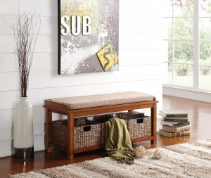 "42"" X 15"" X 18"" Light Brown Microfiber And Walnut Bench With Storage"