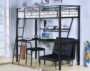 "75"" X 28"" X 11"" Silver And Black Metal Tube Futon Adjustable Chair"
