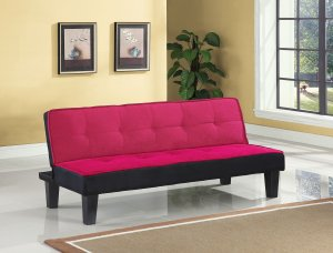 "66"" X 29"" X 28"" Pink Flannel Fabric Adjustable Sofa"