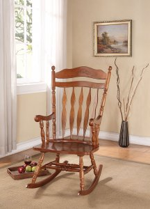 "25"" X 33"" X 48"" Dark Walnut Rubber Wood Rocking Chair"