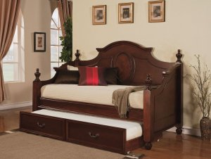 "77"" X 41"" X 12"" Twin  Cherry Pine Wood Trundle"