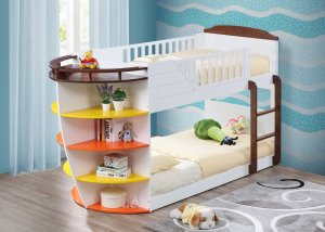 """100"""" X 41"""" X 57"""" White And Chocolate Twin Over Twin Bunk Bed With Storage Shelf"""