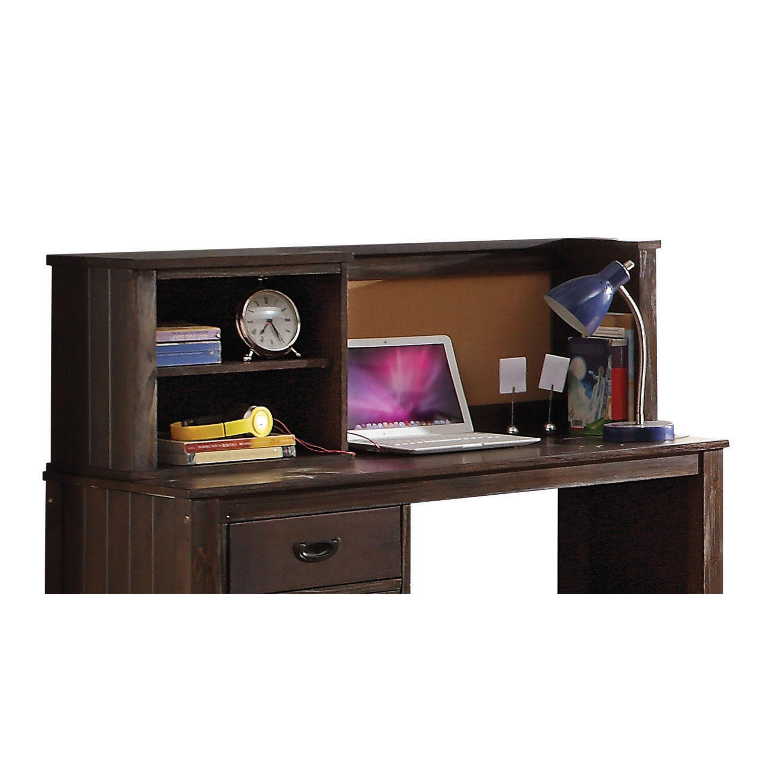 "49"" X 12"" X 16"" Antique Charcoal Brown Desk Hutch"