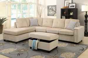 """78"""" X 33"""" X 36"""" Beige Velvet Reversible Sectional Sofa With Pillows"""