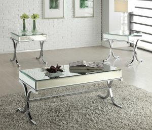 """42"""" X 21"""" X 19"""" Mirrored Top And Chrome Coffee Table"""