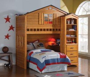 "80"" X 43"" X 88"" Twin Rustic Oak Pine Wood Loft Bed"