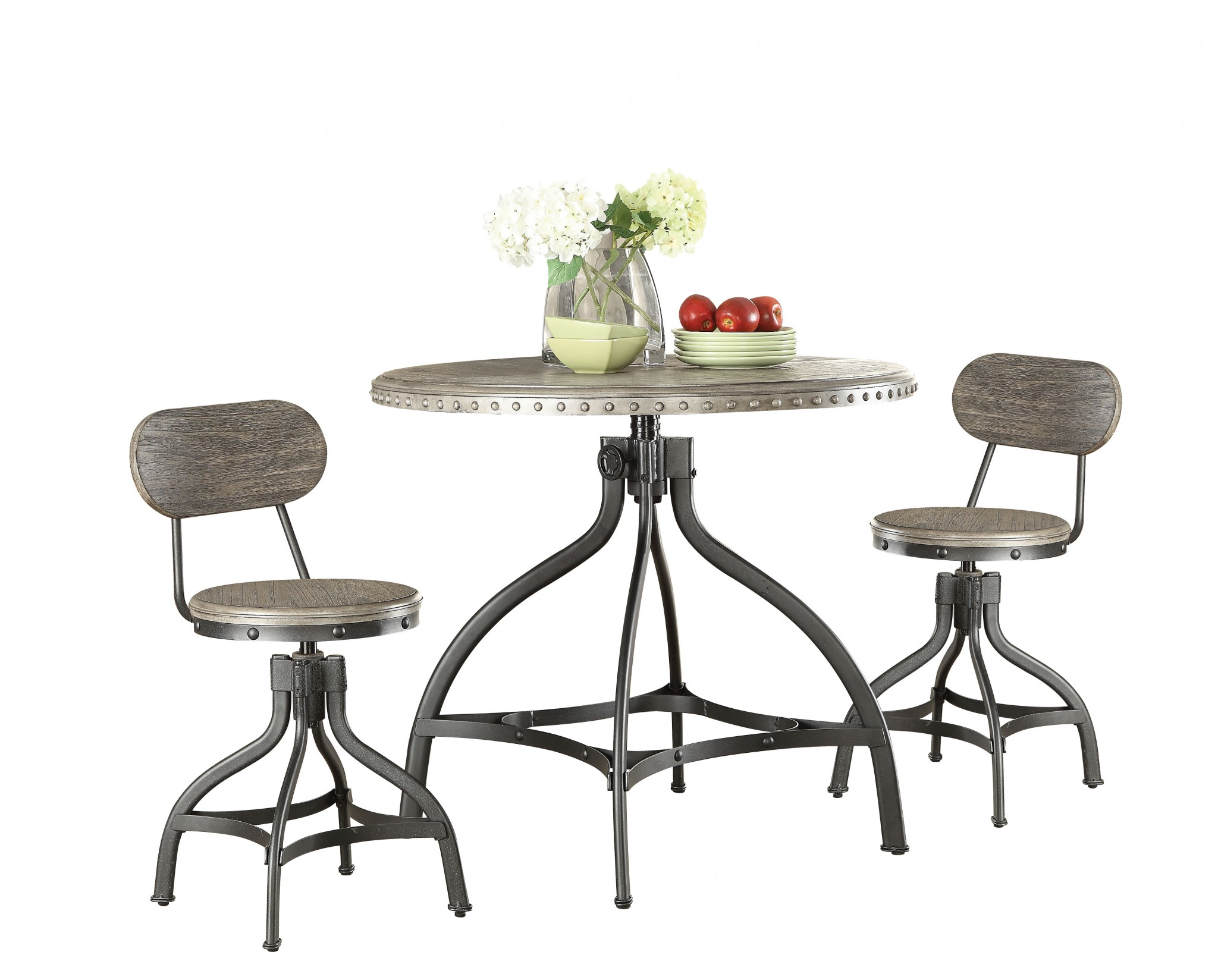 """36"""" X 36"""" X 36"""" 3pc Pack Gray Oak Adjustable Counter Height Dining Set"""