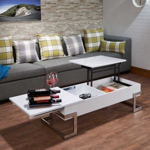 "47"" X 20"" X 14-24"" Black And Chrome Particle Board Coffee Table"