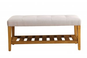 """40"""" X 16"""" X 18"""" Light Gray And Oak Simple Bench"""