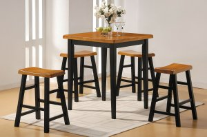 "36"" X 36"" X 36"" 5pc Oak & Black Rubber Wood Counter Height Set"