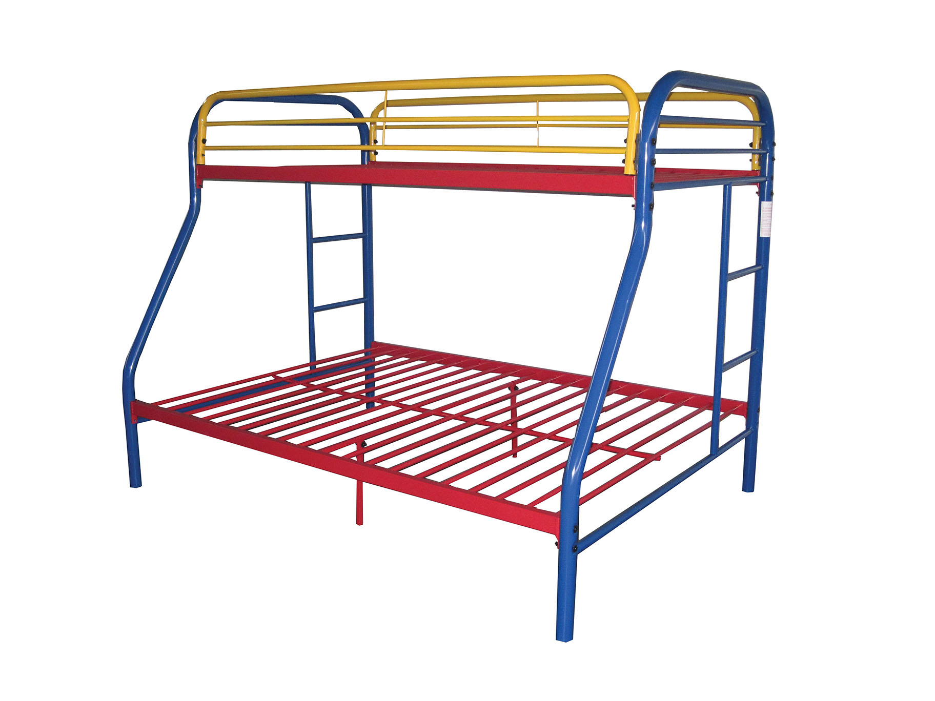 "78"" X 54"" X 60"" Twin Over Full Rainbow Metal Tube Bunk Bed"