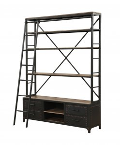 "64"" X 29"" X 83"" Sandy Gray Metal Tube Bookcase With Ladder"