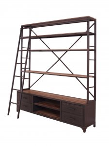"74"" X 29"" X 83"" Sandy Gray Metal Tube Bookcase With Ladder"