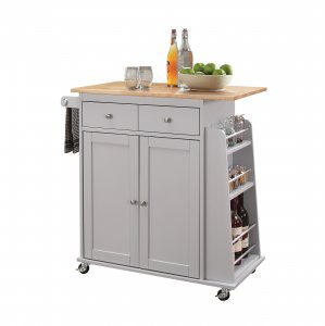 "35"" X 18"" X 34"" Natural And Gray Rubber Wood Kitchen Cart"
