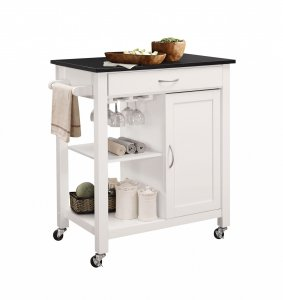 """32"""" X 19"""" X 34"""" Black And White Rubber Wood Kitchen Cart"""