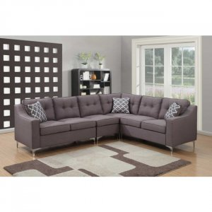Gray 4pc Mid Century Linen Fabric Tufted L Shaped Sectional