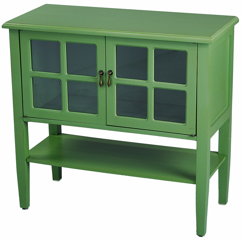 Green Wood Clear Glass Console  Cabinet with a Shelf, 2 Doors and Paned Inserts